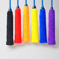 suaves toallas amarillas al por mayor-Raqueta de bádminton Sweat Band Microfiber Toalla Pegamento de mano Battledore Sweatband Mujeres Hombres Suave Azul Amarillo Ventas calientes 2 2al C1