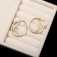 Wholesale earring golden resale online - 3 cm Metal Letter Hoop Earring Women Letter Earring Gold Silver Fashion Modern Earring for Gift Party