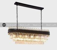 einfache schwarze kronleuchter großhandel-Schwarzer Kristallleuchter Licht Luxus postmodernen Restaurant Kronleuchter Rechteckig Einfach Atmosphärisch Haushalt Amerikanischen Stil Lampen