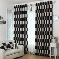 cortinas duplas para sala de estar venda por atacado-Jacquard de dupla face com Damas preto e branco para espessamento e sombreamento de cortinas para sala de jantar.