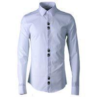 paçavra gömleği toptan satış-% 100 Pamuk Erkekler Gömlek Moda Pat İşlemeli Uzun Kollu Erkek Elbise Gömlek Beyaz Siyah Erkek Gömlek Casual Slim Fit