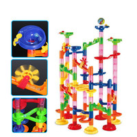 3d rolle großhandel-Achterbahn Spielzeug 3D-Modell Baustein Bau Marble Run Ball Achterbahn Spielzeug 105 PCS Marble Race Run Maze Ball Spielzeug
