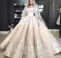 Wholesale shorter lace wedding dress resale online - Gorgeous Off The Shoulder Lace Wedding Dresses Short Sleeves Appliques Lace Satin Ball Gown Wedding Dress Long Lace Up Back Bridal Gowns