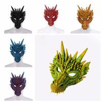 partido dragão venda por atacado-Halloween Party Cosplay Fierce Máscara do dragão dinossauro Máscaras Crânio All face, cabeça Dance Party Festival Decoração TTA1891