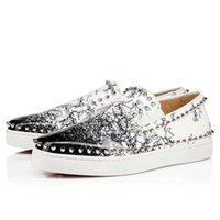 zapato de vestir de fábrica al por mayor-Nueva fábrica 2019 Mocasines personalizados Hombres Zapatos casuales Sparkle Glitter Spiked Handmade Luxury Wedding Dress Shoes