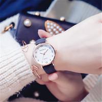 свадебные наручные часы оптовых-Розовое золото Кожа PU кварцевые Lady Наручные часы Алмазная Сплав Женщина дизайнер часы моды Красочные желе часы для женщин свадебный подарок