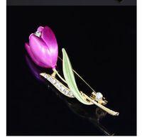 vestidos de primera calidad al por mayor-2009 Ventas calientes Nuevo aceite Flores de tulipán con broches de perforación Accesorios de brocado pintado Vestido pin Pin premium