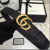 hebillas de arco al por mayor-GUCCI Louis Vuitton Cinturones para hombre Serpiente Real Cuero genuino Cinturones de negocios Mujer Big Gold Buckle con caja original Negro