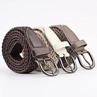 Fashion Men Women Woven Braided PU Leather Waist Belt Waistband 107-110cm Long