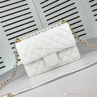 Wholesale white pearl handbag resale online - Designer luxury Messenger bag high quality classic genuinne leather handbag new pearl accessories chain bag
