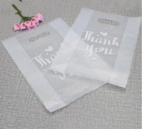 Wholesale plastic wrapping bags resale online - 100pcs Translucent plastic bags Thank You plastic bags wedding party favor retail bags for boxes