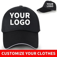 Wholesale custom embroidered baseball caps resale online - Custom baseball cap with logo printed with embroidered text photo pure casual solid color cap black Snapback for men SA