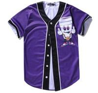 Wholesale wear baseball jersey men resale online - Cheap Summer Wear Men s Baseball Jerseys Short Sleeves D Cartoon Brand Base Player Jersey Baseball Shirt Tops Button