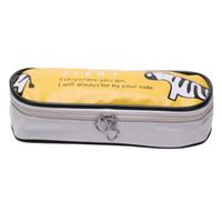 ingrosso caso di trucco zebra-AAAJ-Large Storage Pencil Case Pencil Holder Cosmetic Makeup Pouch Zipper Bag Zebra gialla