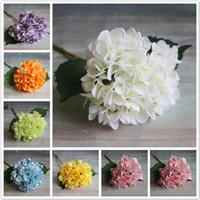 Wholesale artificial hydrangeas bouquet for sale - Group buy Hot Sale Artificial Hydrangea Flower Head cm Fake Silk Single Real Touch Hydrangeas Colors for Wedding Centerpieces Decorative Flowers