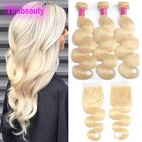 saç teli 613 toptan satış-Malezyalı 613 # Sarışın Vücut Dalga Paketler ile Dantel Kapatma 4X4 ile Bebek Saç Uzantıları Paketler ile Closures 8-28inch 613 Renk