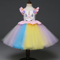anos vestido de criança venda por atacado-1-6 anos bebê menina vestido de princesa unicórnio flor Pétala Manga crianças tutu saias halloween festa de natal vestido de baile crianças boutiques