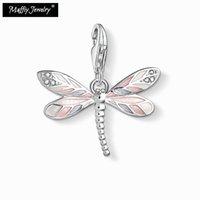 libélula rosa venda por atacado-Pink Dragonfly Charme, 2019 Presente Na Moda Em 925 Sterling Silver Fit Pulseira, Europa Estilo Clube Boa Jóia Para Mulheres Meninas