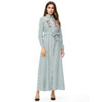 7f00fc87c9 Muslim Striped long Dress Female Ankle-Length lapel Single-breasted Shirt Dress  Long Sleeve Woman Dresses Eid Ramadan