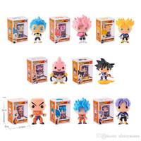 ferro homem face brinquedo venda por atacado-FUNKO POP 10 cm Anime Dragon Ball Z POP Super Saiyajin VEGETA Rood Haar Action Figure PVC Coleção Modelo Goku