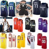 camiseta de baloncesto 34 al por mayor-Gianna 2 Gigi Bryant 3 Davis Doncic 11 Joven 2020 Jersey baloncesto de la NCAA Rising Stars universitario masculino 34 Antetokounmpo Carmelo Anthony 00 77