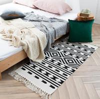 blaue grüne bettdecken großhandel-Retro küche carpet für sofa wohnzimmer schlafzimmer teppich baumwolle quasten garn gefärbt tabelle ruuner bettdecke tapisserie dekoration