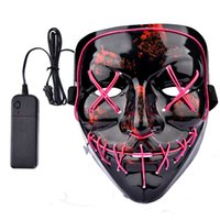 Wholesale mask ghost dance resale online - DHL Halloween El Wire Mask Cold Light Line Ghost Horror Mask LED Party Cosplay Masquerade Dance Halloween Rave Toy Accessories A02
