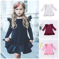 Wholesale little girl dress boutiques resale online - Little Flying Sleeve Girl Dress Four Pure Color Baby Pleated Skirt Spring Autumn Boutique Kid Home Clothes sc E1