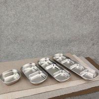 metal tabaklar toptan satış-Paslanmaz Çelik Biber Kızartma Et Sosu Yemekleri Kase Gıda Baharat Tepsisi Ayrı Suşi Sirke Soya Tabakları Sofra QW9951