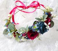 Wholesale garland berries resale online - Girls flowers crown bohemian style kids colorful simulation flower berries garlands brides wreath children weaving rattan headbands F8632