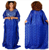 Wholesale african loose beads for sale - Group buy Super size bust cm New style African women s Dashiki Water soluble lace loose skirt with Sequins beads embroidery long dress