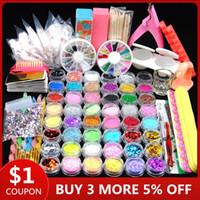 Wholesale gel tips kit resale online - 48pcs Nail Acrylic Glitter Set For Manicure Nail Kit Gel Polish Decoration False Tip Gel Brush Tool Set