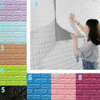 tijolo autoadhesivo de papel de parede 3d venda por atacado-77 * 70 centímetros 3D Adesivos de parede imitação tijolo Bedroom Decor Wallpaper impermeável auto-adesiva para Sala Cozinha TV de Fundo Decor