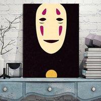 gesicht malerei für kinder großhandel-Kein Gesicht Spirited Away Hayao Miyazaki Leinwand Bild modulare Gemälde für Wohnzimmer Poster an der Wand Kinderzimmer Dekor