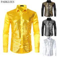 Wholesale silk sliver resale online - Men s Sliver Sequin Silk Satin Shirt Long Sleeve Button Down Shiny Disco Party Shirts Slim Fit Stage Dance Men Prom Shirt