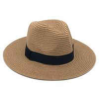 hasır şapkalar toptan satış-Femme Vintage Panama Şapka Erkekler Straw Fedora Sunhat Kadınlar Yaz Plaj Güneşlik Kap Chapeau Serin Caz Fötr Kap Sombrero