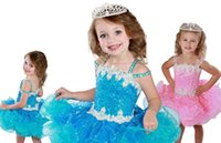 Wholesale baby dresses sequins for sale - Group buy 2020 Lovely Sequins Tulle Ruffle Little Girls Pageant Dresses Cute Crystal Straps Sequined Piping Graduation Dress Baby Girls First Communio