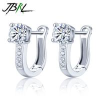 руки кольца для девочки оптовых-JBRL Women Ear Rings Silver Ladies Earrings Popular Women Jewellery Gifts for Girl Pair Jewelry Accessories Hand Mosaic Zirconia