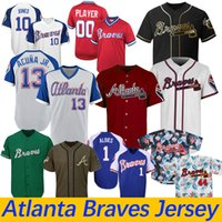 Wholesale turning clock for sale - Group buy Atlanta Custom Braves Jersey Austin Riley Ronald Acuna Jr Chipper Jones Freddie Freeman Dansby Swanson Turn Back The Clock Jerseys
