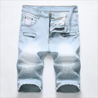 blue jean shorts for men toptan satış-Açık Mavi Kısa Kot Yaz Denim Şort Erkekler Pamuk Streç Jean Şort Yeni Erkekler Fermuar Rahat Kot