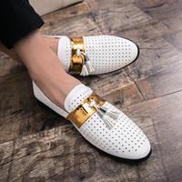 sıcak beyaz elbise erkek ayakkabıları toptan satış-Sıcak Satış-Yaz Erkek Formal Ayakkabı Yüksek Kalite Nefes inek derisi Deri Kişilik Erkekler İş Elbise Loafers Oxford Düğün Ayakkabı Beyaz