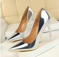 zapatos de fiesta de boda al por mayor-BIGTREE Nueva Charol Wonen Bombas Moda Zapatos de Oficina Mujeres Sexy Zapatos de tacones altos Zapatos de Boda de las mujeres Partido