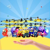 Wholesale girl electric toys for sale - Group buy Minion drone RC Helicopter Aircraft Mini drone Fly Flashing helicopter Hand Control RC Toys Minion Quadcopter Dron LED Kids Toys Retail