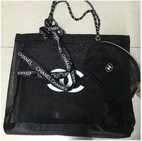 black cosmetic bag großhandel-2019 Neue Einkaufstasche mit großem Fassungsvermögen aus schwarzem, pinkfarbenem Mesh zum Versenden von Trompetenhandtaschen und Bändern