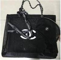 Wholesale mesh cosmetics bags resale online - 2019 New black Pink mesh large capacity shopping bag to send trumpet handbag and ribbon set ladies washing or cosmetic storage beach bag VIP