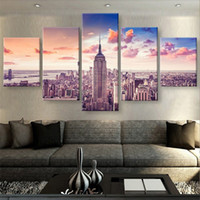ingrosso arte di new york-New York, 5 pezzi HD Canvas Printing New Home Decoration Art Painting / Senza cornice / Incorniciato