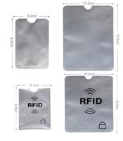 ingrosso scudo della carta di credito-Pure Sliver RFID CARD MANICA Anti Theft 6.2X9.2CM Credit Card Protector RFID blocco di alluminio di sicurezza 10.2X13.2CM Passaporto manica Shield