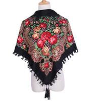 cintas de borla para las mujeres al por mayor-Nueva Moda Diseñador de la Marca Cuadrado Abrigo de Invierno Bufanda Mujeres Borla Mantones Estampado floral de lujo Venta caliente Diadema 90 * 90 cm