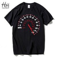 ingrosso tachimetro nero-T-shirt Hanhent Fashion T Shirt Uomo Cotone Estate Car Speed Nero Design creativo Tops Tees Abbigliamento fitness Brand