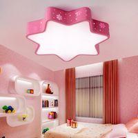 luzes de ferro rosa venda por atacado-Modern oco de ferro estrelas quarto das crianças LEVOU instalação de luz de teto para casa deco sala de jantar da criança rosa neve acrílico lâmpada do teto